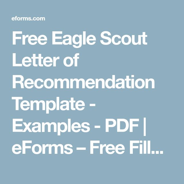 Free Eagle Scout Letter of Recommendation Template - Examples - PDF | eForms – Free Fillable Forms