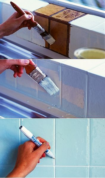 Painting tiles: Clean, undercoat, paint then colour the grout. From homelife.com.au.