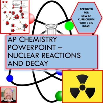 COMPLETELY EDITABLE! This 60 slide PowerPoint presentation covers, in detail, all of the AP chemistry concepts in nuclear reactions and decay. It details the following topics: - Factors that affect nuclear decay - The zone of stability - Alpha production and when it occurs - Beta production and when it occurs - Gamma production and when it occurs - Positron production and when it occurs - Nuclear