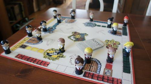 Harry Potter Hogwart's Sorry Game - pieces made from spool and bead (plus paint and clay hair)