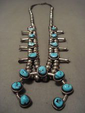 RARE VINTAGE NAVAJO OLD SLEEPING BEAUTY TURQUOISE SILVER SQUASH BLOSSOM NECKLACE