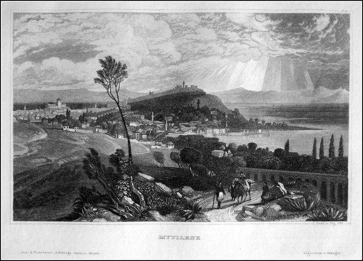 Greece - Mytilene . Graphic         : Steel engraving From             : Pittoreskt Universum eller Taflor Year              :  1838 Size               : 17 x 12 cm Distr.             : Bibliografiska Institutets Stockholm