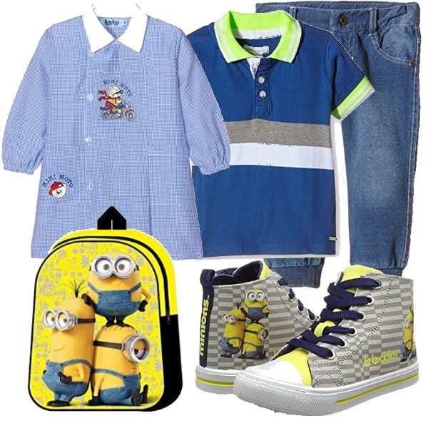 Il tuo bimbo inizia la scuola materna? Ecco un'idea per vestirlo il primo giorno. I Minions piacciono molto ai bambini, quindi ho usato sia scarpe che zainetto!