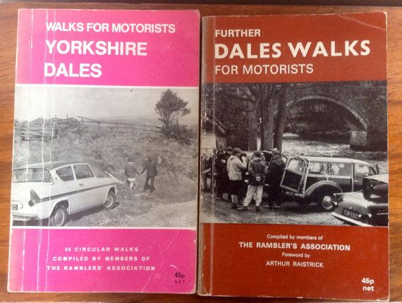 A set of two guide books published by The Ramblers Association in the 1970s Walks for Motorists Yorkshire Dales, and Further Dales Walks for Motorists. Both with charming black and white pictures on the covers.  Book 1 is 78 pages published in 1973. Book 2 is 104 pages, published in 1972. Both books measure 8 by 5.2. Each has a relevant newspaper clipping inside. The two books give detailed routes for various walks around The Yorkshire Dales, showing where to park, how many miles and how…