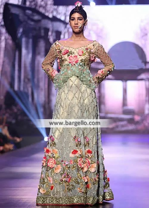 Tabassum Mughal Wedding Dress South London UK with Amazing 3D Floral Embellishments