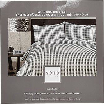 Super King White & Grey Duvet Set