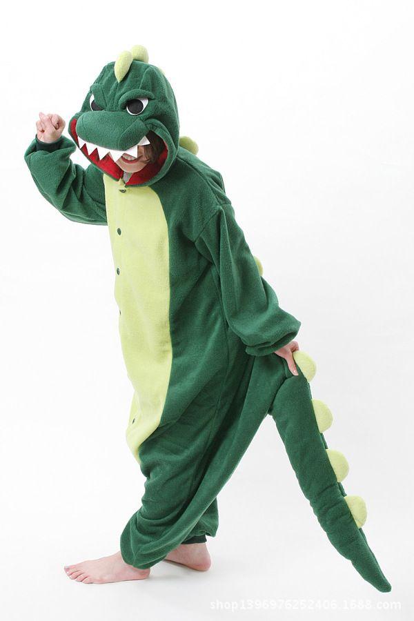 Mens Ladies Green Dinosaur Onesie Adult  Animal Onesies Onsie Jumpsuit  Pyjamas Pajamas 1046 S/M/L/XL