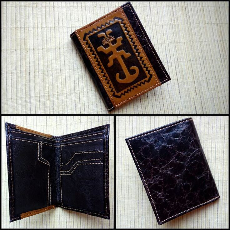 "This exclusive and high-quality leather wallet ""ANCHOR"" is a completely handmade author's work so the wallet is the only in the world.  The wallet is decorated with a stamping of a Mexican talismanguarding from thieves.  The combination of several types of leather makes an interesting design of the wallet.  Features: - 2 compartments for notes; - 3 compartments for credit cards; - 2 compartments for USB flash drives; - 2 hidden compartments for small things.  Dimensions: 120mm х 95mm  The…"