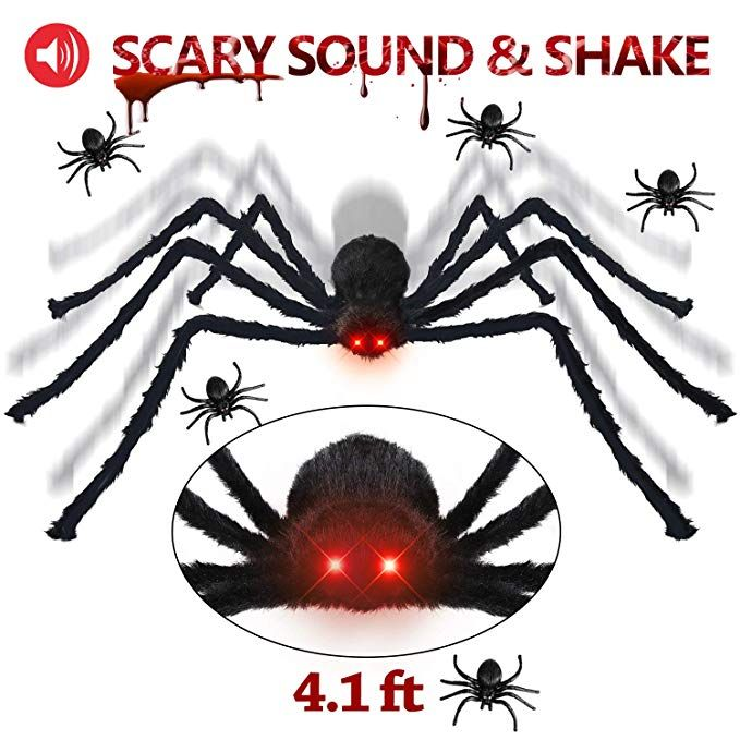 Halloween Decorations Giant Spider 41 ft with LED Eyes Spooky Sound - giant spider halloween decoration