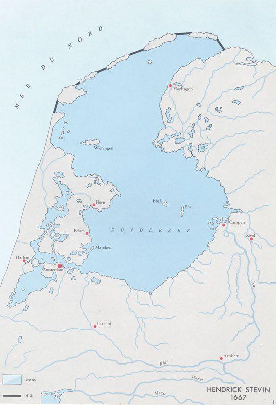 Plan voor inpoldering Zuiderzee door H. Stevin, 1667..