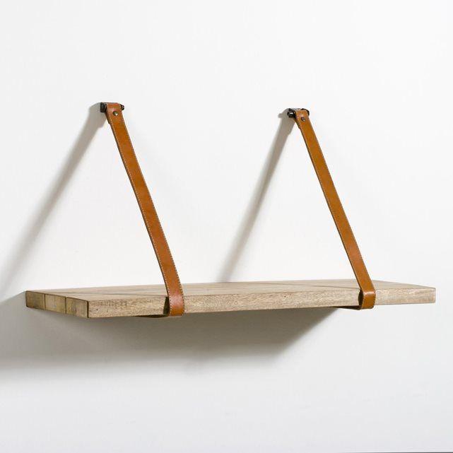 tag re compos e d 39 une tablette en manguier massif brut suspendue par 2 sangles en cuir naturel. Black Bedroom Furniture Sets. Home Design Ideas