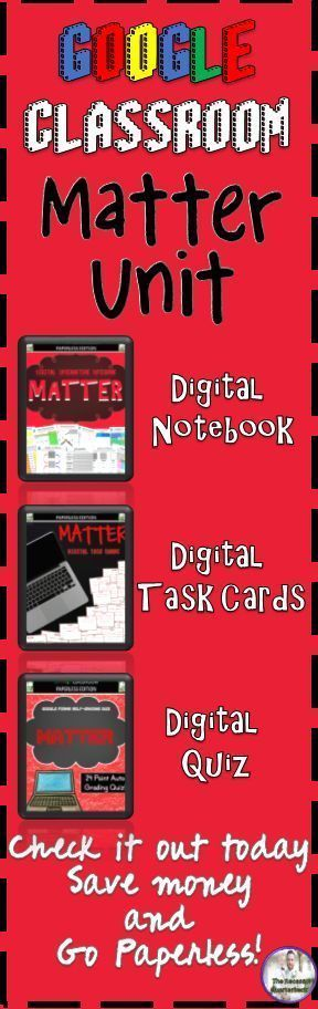 This bundle includes a Digital Interactive Notebook, Digital Task Cards, and Digital Google Forms Quiz all focused on Matter. Included in the unit are activities focusing on states of matter, chemical and physical changes, the atom, and mixtures and solut