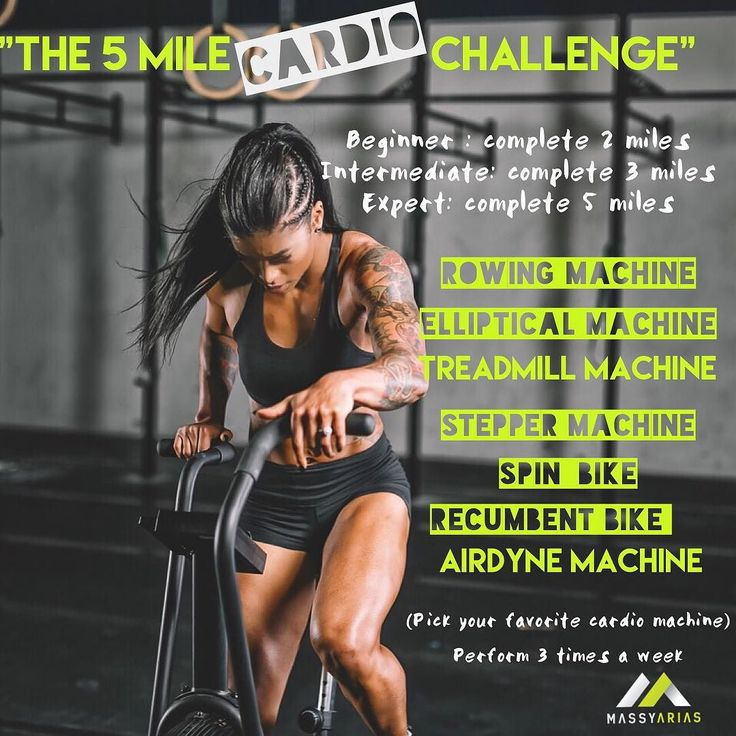 """BOOM! HERE IT IS """"The (5 Mile) Cardio Challenge"""" TAG A FRIEND OR WORKOUT BUDDY WHO ARE YOU CHALLENGING?  Goal: perform 3 times this week. Pick your favorite machine on the list and complete 1 mile on each machine depending on which level you choose. If you do not have access to a particular machine double down on a machine. I CHOSE 1 mile On treadmill 1 mile on elliptical 1 mile row 1 mile spin bike 1 mile AIRDYNE to complete my 5 miles.  Beginner : complete 2 miles. Intermediate: complete 3…"""