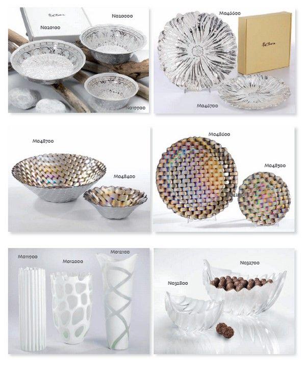Piatti di vetro, vasi e coppe frutta in vetro satinato.