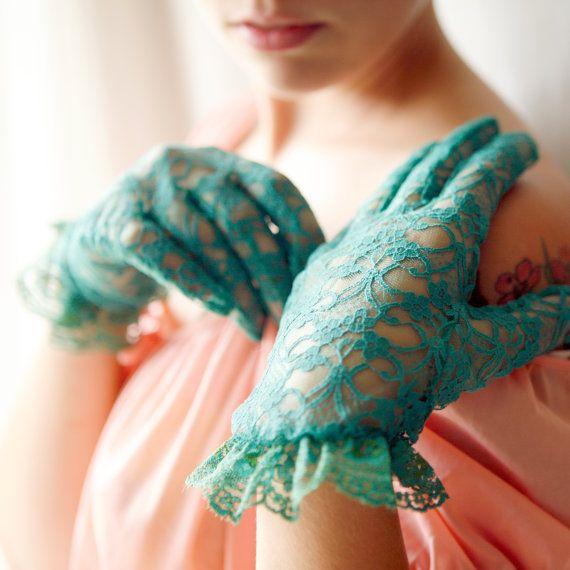 teal lace vintage gloves