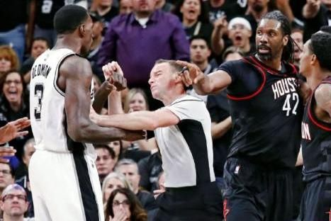 "Houston Rockets reserve center Nene was fined $15,000 for ""escalating an altercation"" by pushing San Antonio Spurs center Dewayne Dedmon…"