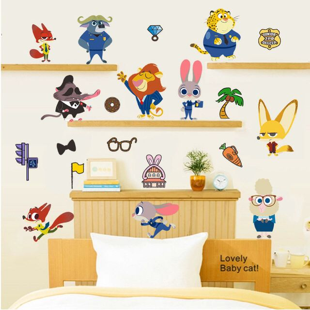 Zootopia animal world cartoon nursery wall sticker more discount when buy 2 sets find option a here product description: removable wall sticker material