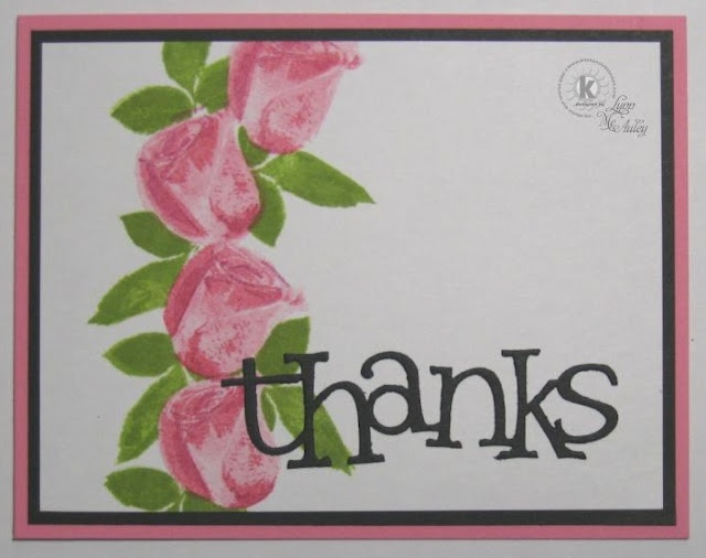 A Sting of Blossoms and a Die Cut Sentiment - KSS 10 Minute Card at Confessions of a Left-Brained Stamper (Lynn McAuley)Kss, Die Cut, Minute Cards, Left Brain Stampers, Stampers Lynn, Lynn Mcauley, 10 Minute, Cut Sentimental, Cards Moments