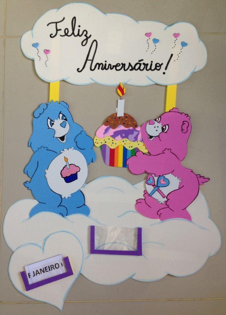 Painel de Aniversário - Ursinhos Carinhosos, para decoração de sala de aula.