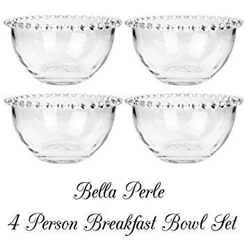 Set of Four Bella Perle Glass Breakfast Bowls with Beaded Edge As Used By Celebrity Chef Nigella Lawson. - Perfect For Adding a Touch of French Chic Style to Your Everyday Kitchen - H 7 x D 13 cm
