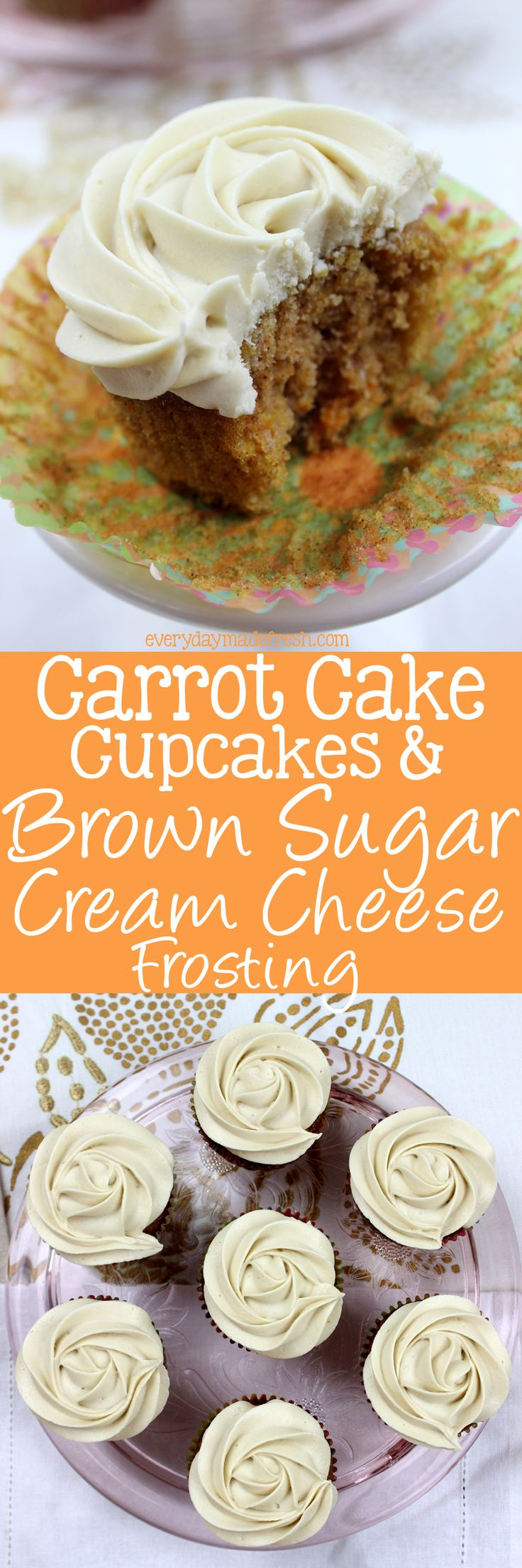 These Carrot Cake Cupcakes & Brown Sugar Cream Cheese Frosting are soft, moist, delicious, and will be a hit at your next celebration! | EverydayMadeFresh.com http://www.everydaymadefresh.com/carrot-cake-cupcakes-brown-sugar-cream-cheese-frosting/