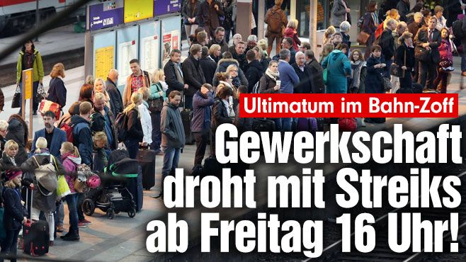 Ultimatum im Bahn-Zoff: Gewerkschaft droht mit Streiks ab Freitag 16 Uhr! Bei massiven Streiks bei der Bahn mussten Millionen Reisende bundesweit mit massiven Zugausfällen und Verspätungen rechnen http://www.bild.de/geld/wirtschaft/bahnstreik/gewerkschaft-evg-droht-mit-streik-39518624.bild.html
