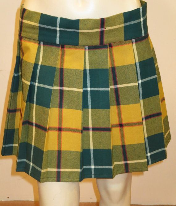 Green Yellow Red Plaid Pleated Skirt~Waist-Small to XXL Plus SIze Available~Summer Wear~Beach Wear Party Midi Skirt~Custom Make@sohoskirts