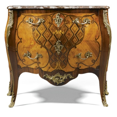A Dutch walnut, amaranth, parquetry and marquetry commode attributed to Matthijs Horrix circa 1765-70 - Sotheby's