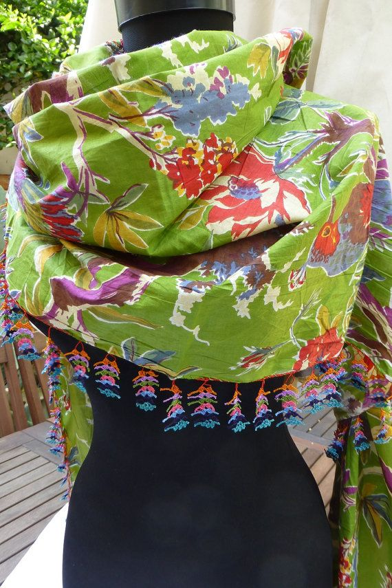 Green Cotton Multicoloured Floral Bohemian Extra by Pllowcoversetc, $79.00