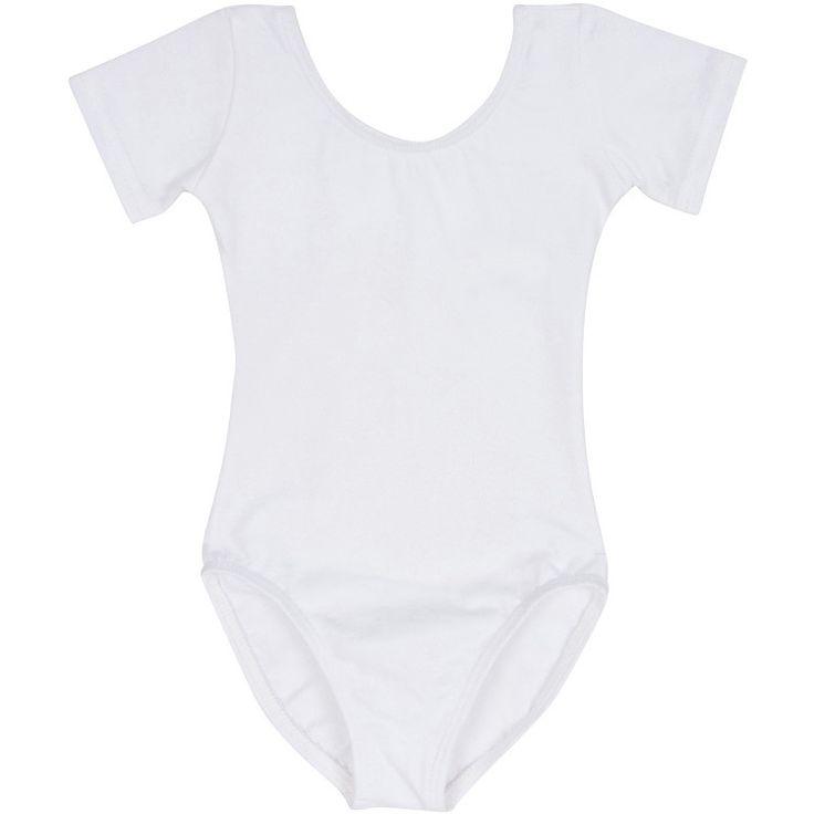 White Short Sleeve Leotard for Toddler and Girls