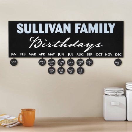 Personalized Family Birthdays Calendar Plaque, Wood
