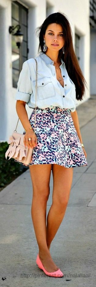 Lovely floral skirt and denim top fashion