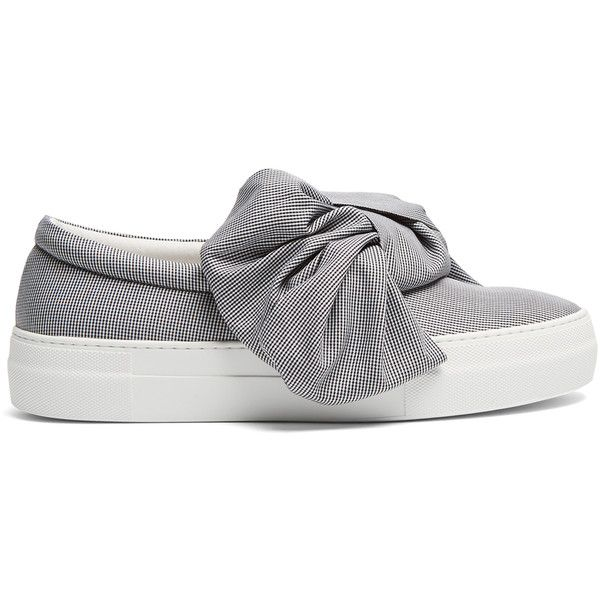 Joshua Sanders Bow gingham slip-on trainers ($285) ❤ liked on Polyvore featuring shoes, sneakers, black white, slip on shoes, slip on trainers, slip-on shoes, black white sneakers and pull on shoes
