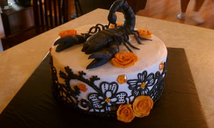 The Cake Bowtique - Creative Cakes Gallery: A Scorpio Birthday Cake.  Get in-depth info on Scorpio traits & personality @ http://www.buildingbeautifulsouls.com/zodiac-signs/western-zodiac/scorpio-star-sign-traits-personality-characteristics/