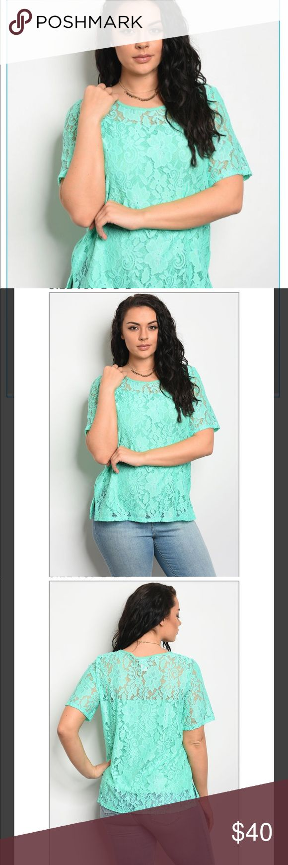 Mint Green shirt Mint Green lace shirt! Available in Plus Sizes! Tops Blouses