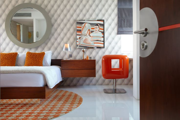 Orange Bedroom, Luna2 private hotel, Bali. Interior design by Melanie Hall #bedroomdesign #interiordesign #melaniehalldesign #designhotels