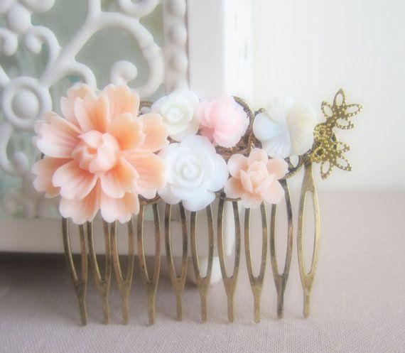Peach Wedding Hair Comb Pastel Pink Bridal Flower Comb Bridesmaids Gift Set Head Piece Blush Floral Comb Shabby Chic Soft Romance - Jewelsalem