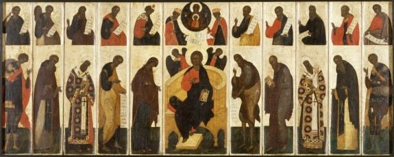 """This """"Great Deesis With Prophets"""" 16th century Russian tempera on panel is located in the Walters Art Museum.  The piece is presently not on view and was acquired by Henry Walters in 1930.    According to the museum information, """"These panels reproduce the upper two tiers of the screen (known as the iconostasis) that separates the nave from the altar in Orthodox churches. Such sets, of which this is one of the earliest known, were used by priests for makeshift altars and by lay people for…"""