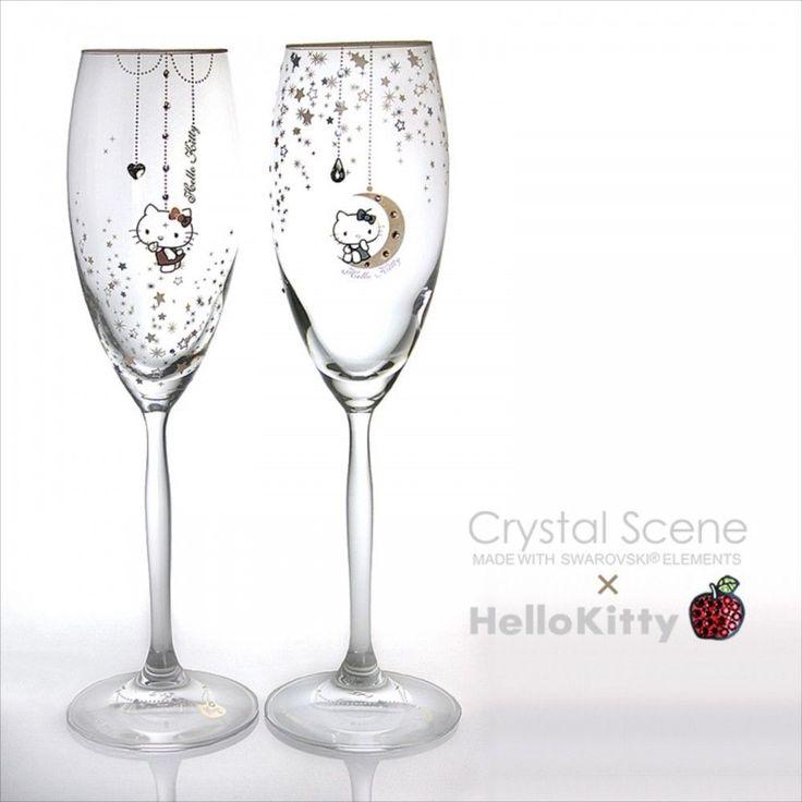 Sanrio Hello Kitty Pair Champagne Glass Swarovski Night Sky Made in Japan NEW | eBay