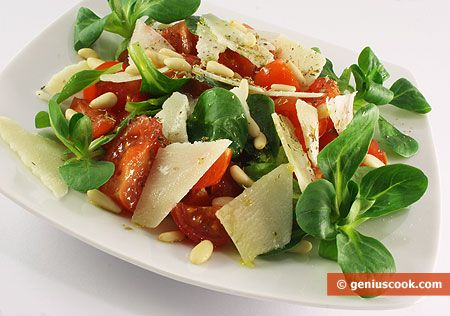 Salad with Valerian, Tomatoes and Cheese | Dietary Cookery | Genius cook - Healthy Nutrition, Tasty Food, Simple Recipes