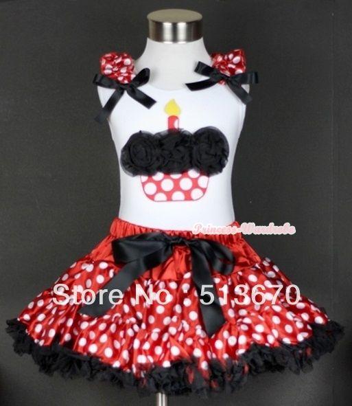 Белая майка с розетки минни точки торт ко дню рождения с минни рюшами и черный с бантом и минни юбка MAMG425
