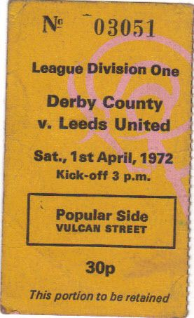 Derby v Leeds Ticket 71/72