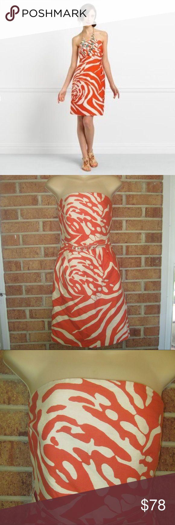 kate spade Jungle Jacquard Print Jo Dress Size: 4. Length: Approximately 30 inches long. Waist: Approximately 27 inches. Approximately 15 inches from armpit to armpit. Print: Jungle Jacquard. Strapless. Tulip skirt. Slanted front pockets. Slim, removable belt. Side boning. Rear zipper. Lined. 91% Cotton, 9% Silk. Lining is 100% Acetate. kate spade Dresses