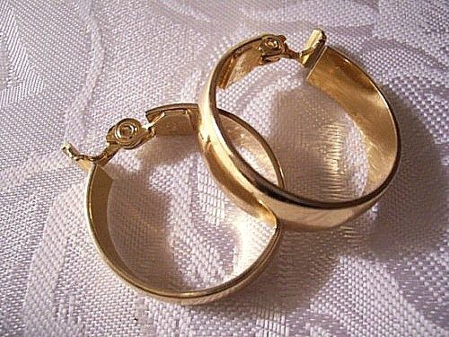 Monet Extra Large Hoops Clip On Earrings Gold Tone Vintage Wide Long