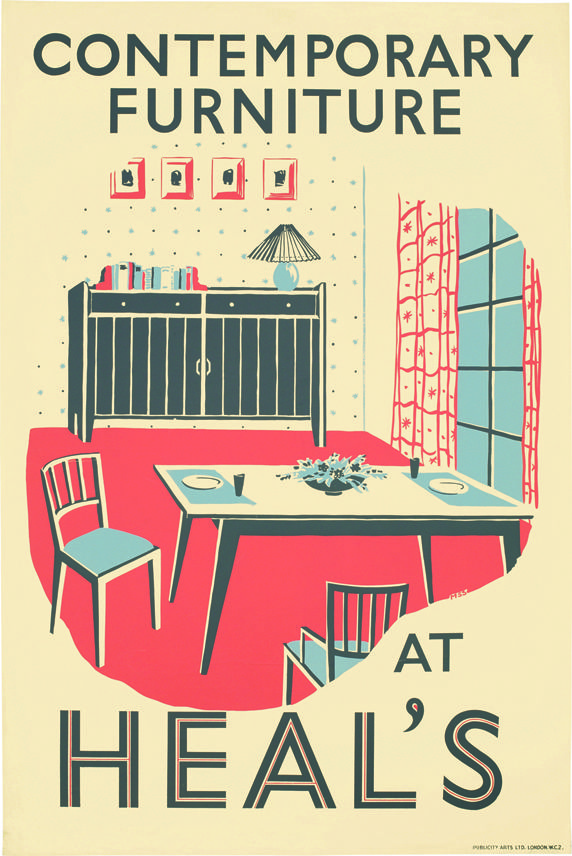 Heals contemporary furniture 1950s poster