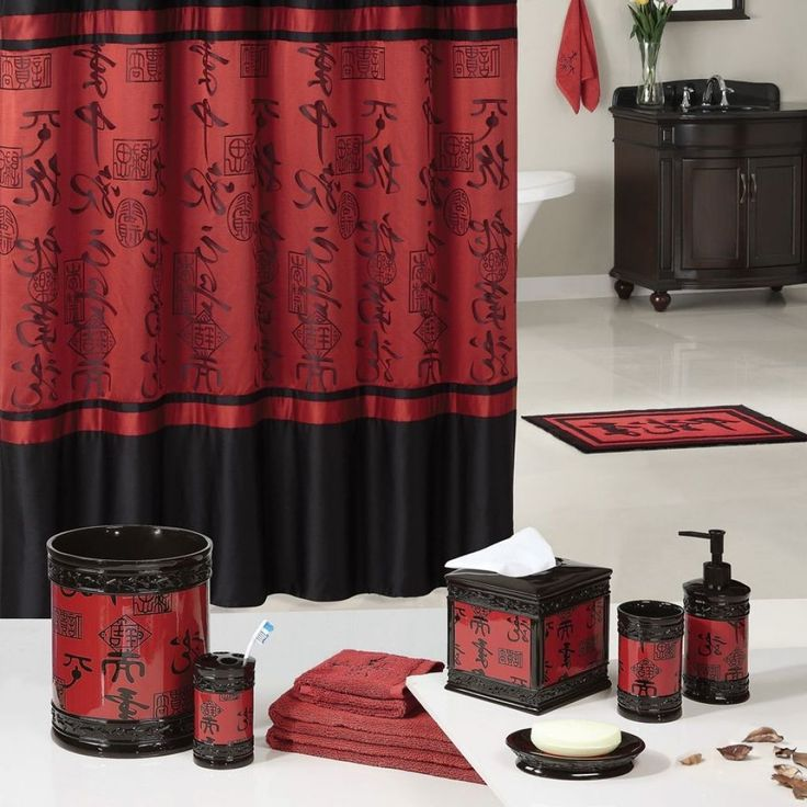 Red And Black Bathroom Accessories Sets