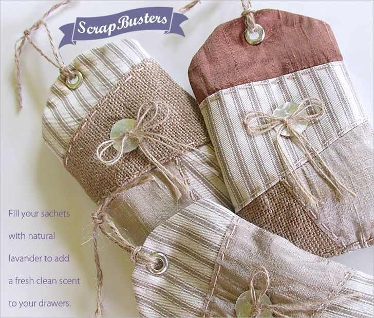 ScrapBusters: Rustic Sachets with Wonky Patchwork. Fill with lavender and place on hangers in closet