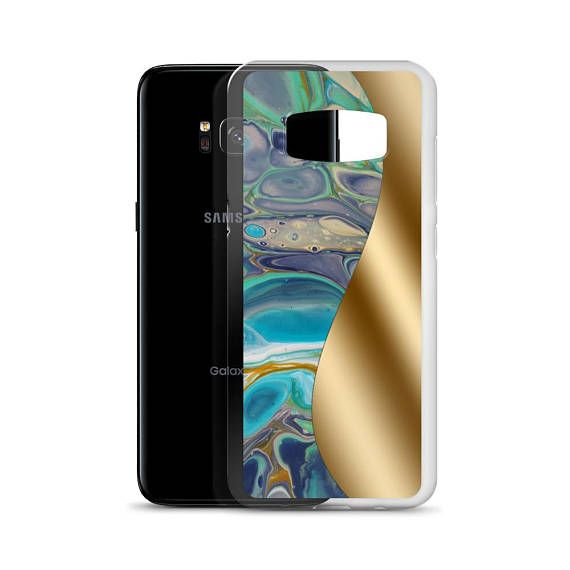 Samsung Galaxy S7 – Samsung Galaxy S7ed – Samsung Galaxy S8 – Samsung Galaxy S8+  This sleek Samsung case protects your phone from scratches, dust, oil, and dirt. The blue and gold Samsung Galaxy Case has a solid matte back and flexible sides that make it easy to take on and off, with