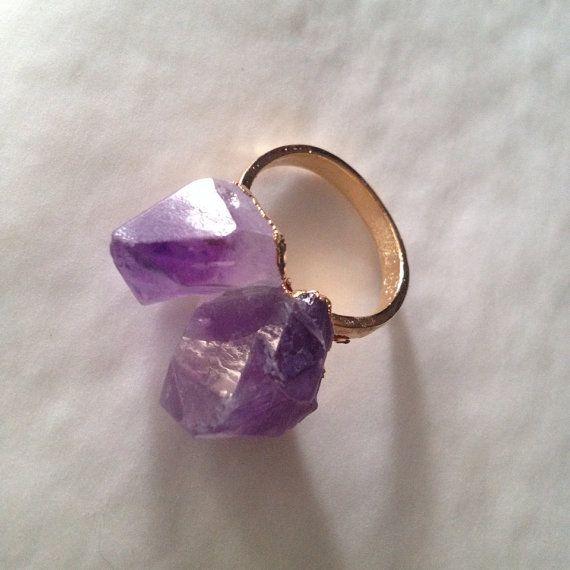 Amethyst ring adjustable  on Etsy, $20.00