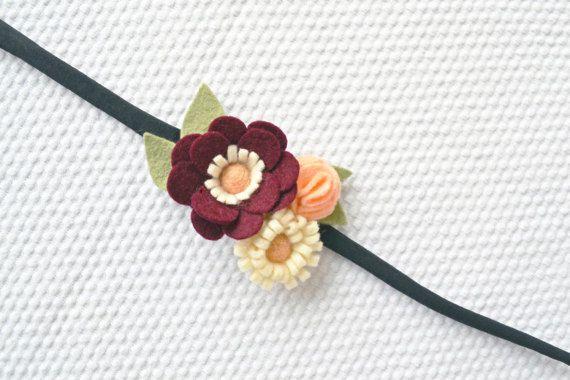 Felt Flower Headband/Wrist Corsage/BurgundyCreme by CraftyCatgr